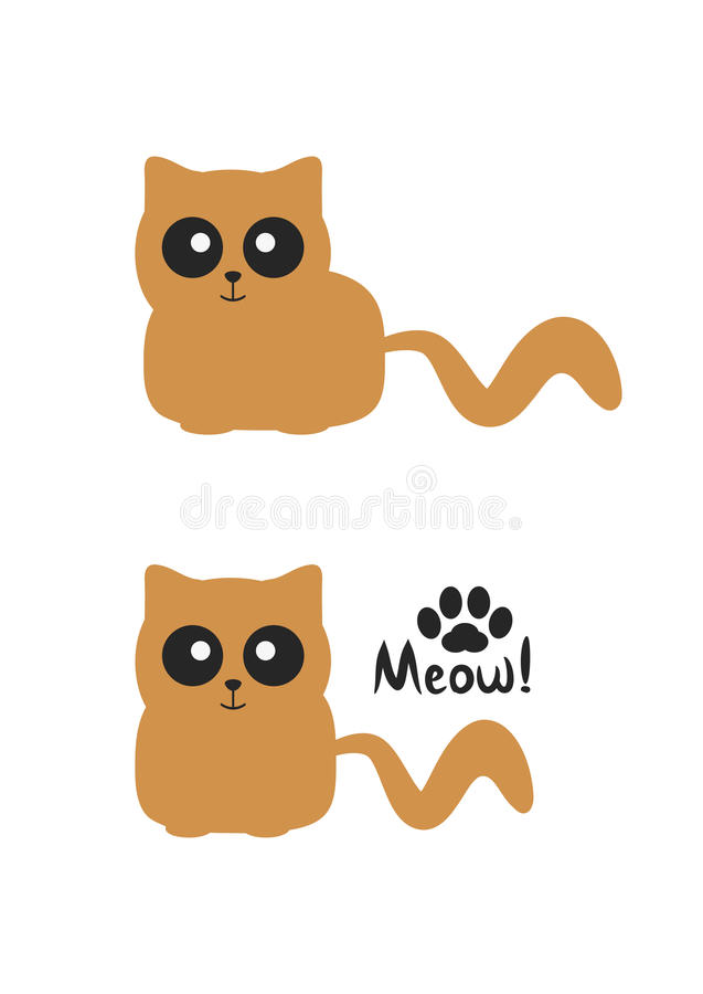 Funny brown smiling cat with big eyes. Silhouette paws and handwritten text Meow! vector illustration