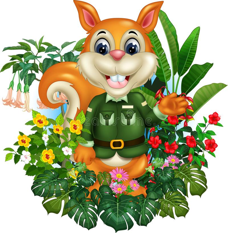 Funny Brown Squirrel With Tropical Plant Flower Cartoon. For your design stock illustration
