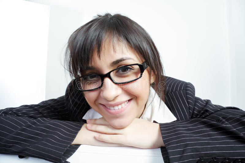 Funny brunette woman in spectacles stock photos
