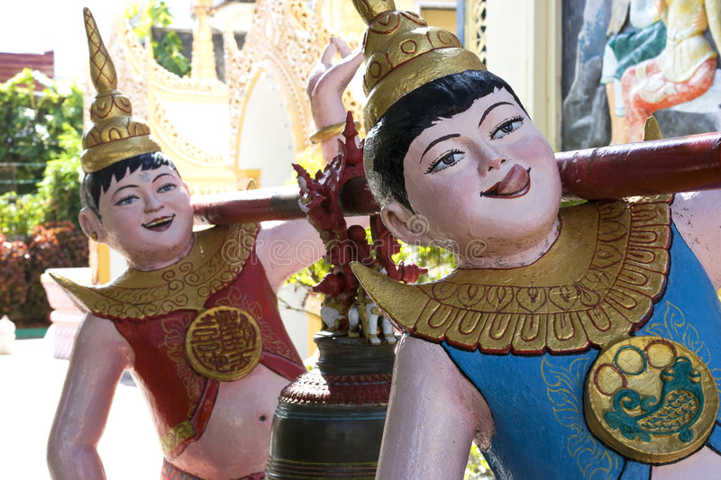 Funny Buddhist Temple Statues royalty free stock photography