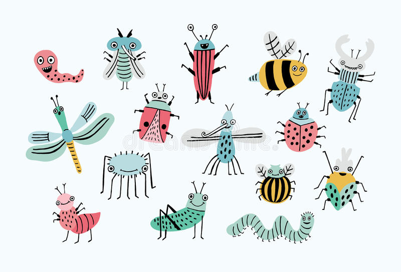 Funny bug set. Collection happy cartoon insects. Colorful hand drawn illustration. stock illustration