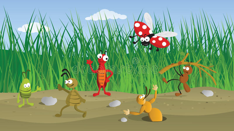 Funny Bugs in the Grass royalty free illustration