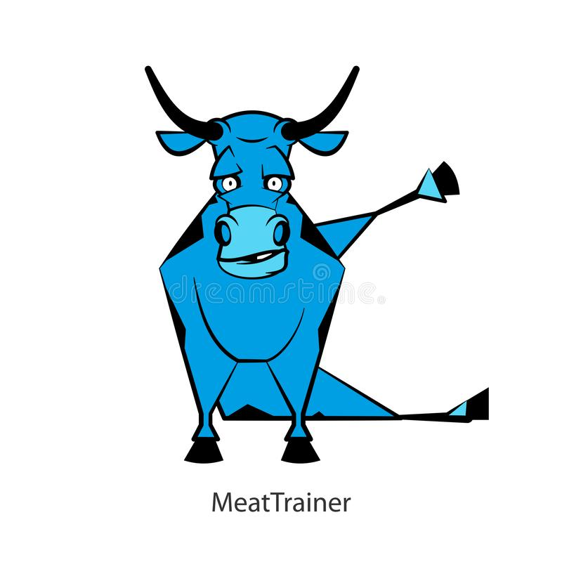 Funny bull color. Cartoon character farm animal. Funny cool bull posing on the morning exercises on a white background. Vector illustration. Fitness meat. Meat vector illustration