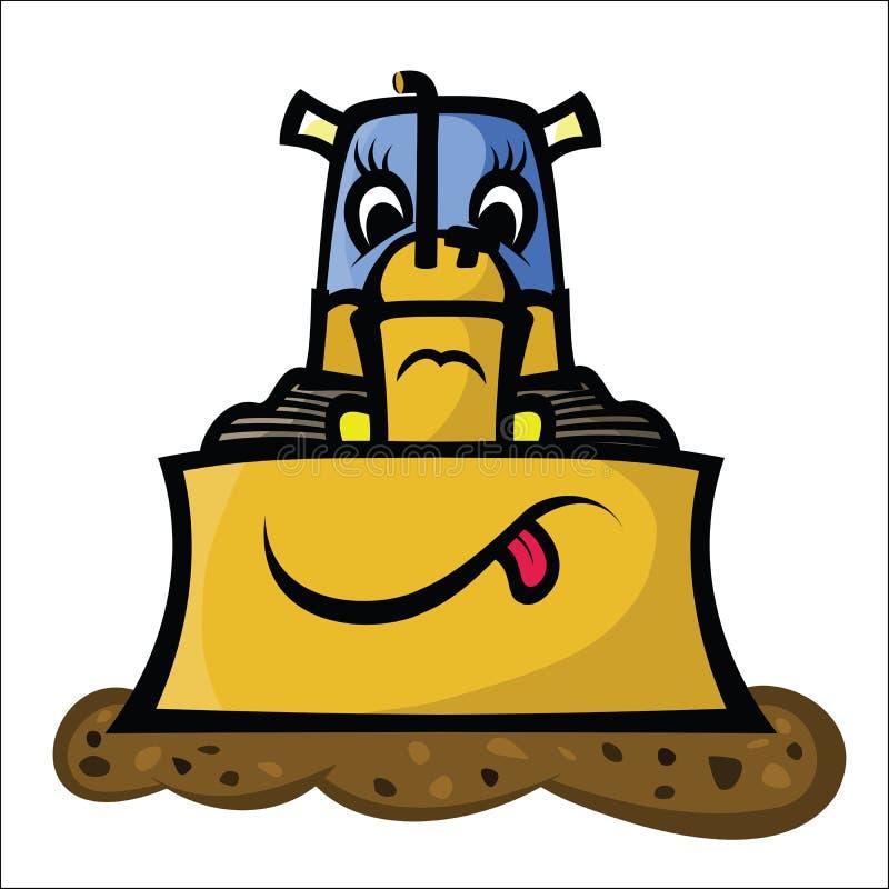 Funny Bulldozer stock illustration