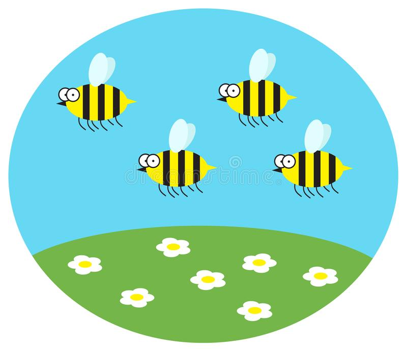Funny bumblebees fly over daisies. stock illustration