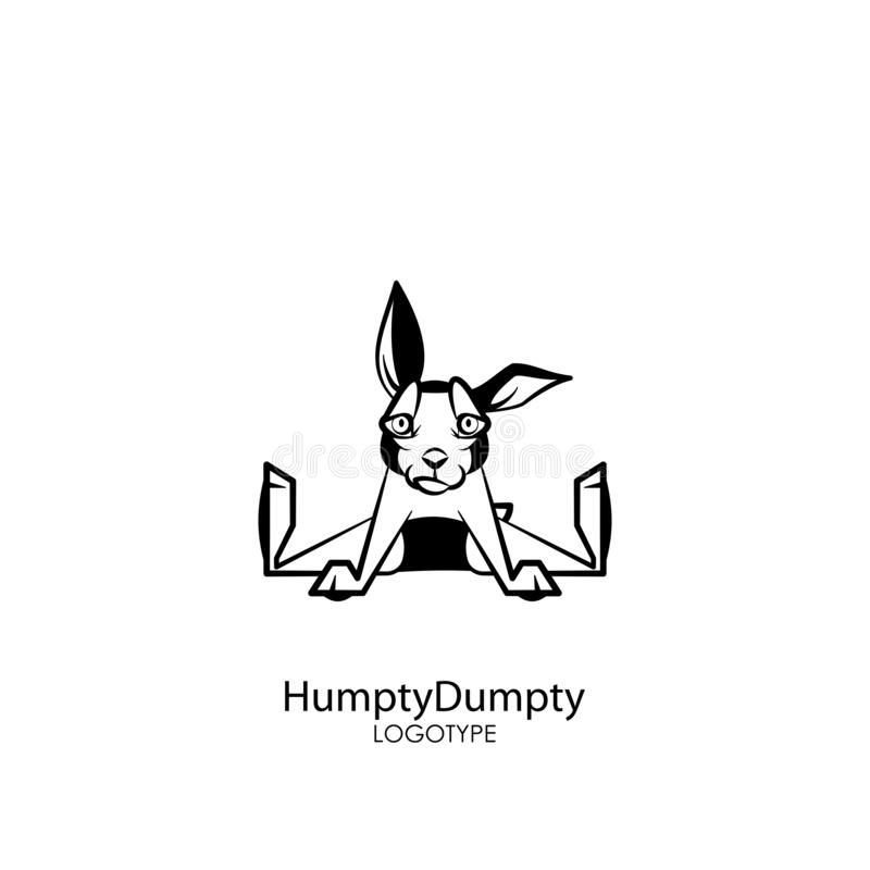 Funny bunny. Cartoon character farm or pet. Funny cute rabbit sitting spreading legs and smiling on a white background. Vector illustration. Rabbit posing royalty free illustration