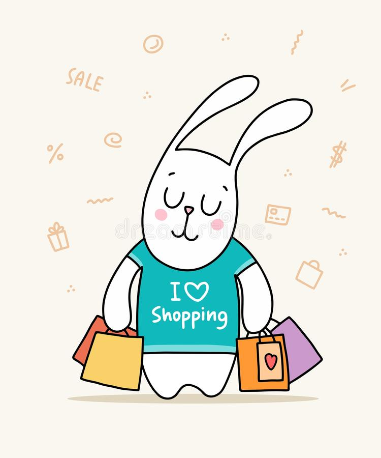 Funny bunny with a lot of colorful packages in green t-shirt. Cartoon flat vector animal illustration poster royalty free illustration