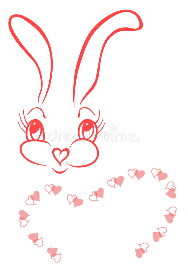 Free Funny Bunny With Frame Of Hearts Royalty Free Stock Photo - 15846075