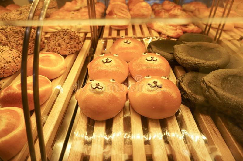 Funny buns. Funny smiling bakery bread baked product royalty free stock photos