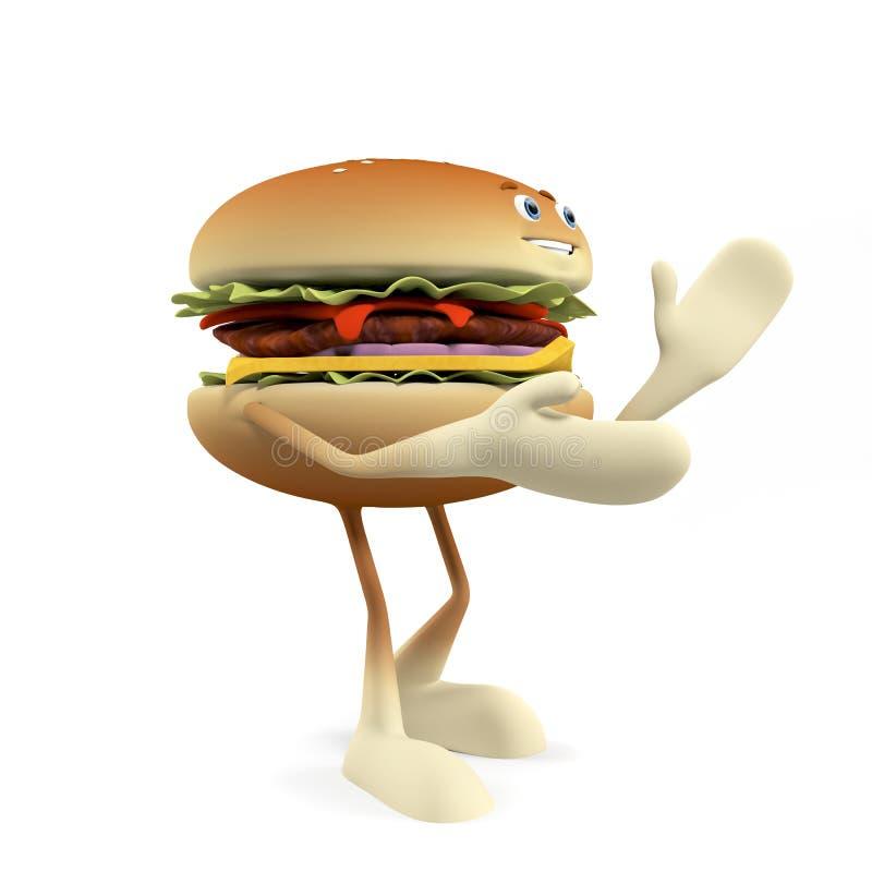 Download Funny burger stock illustration. Image of food, grilled - 25373341