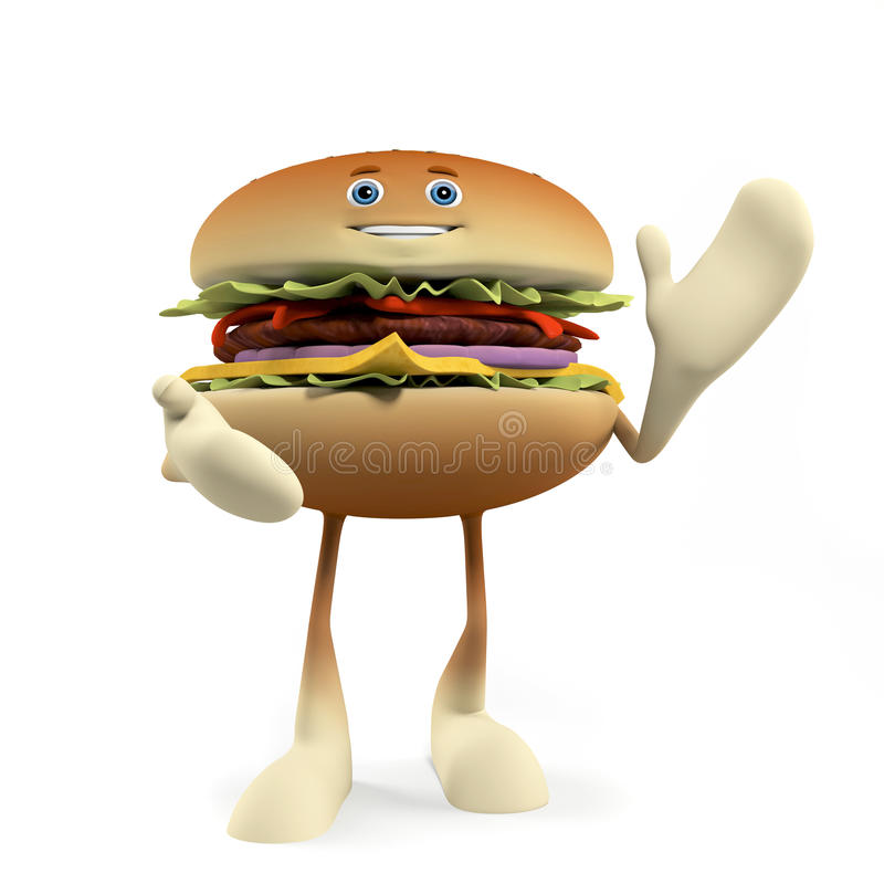 Download Funny burger stock illustration. Image of character, isolated - 25373404