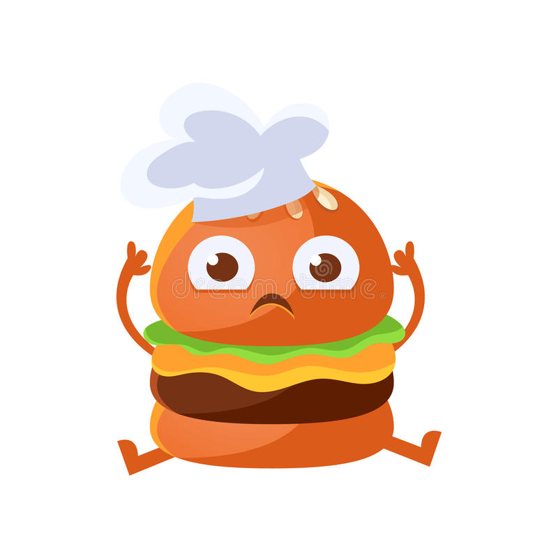 Funny burger with big eyes sitting wearing in a chef hat. Cute cartoon fast food emoji character vector Illustration stock illustration