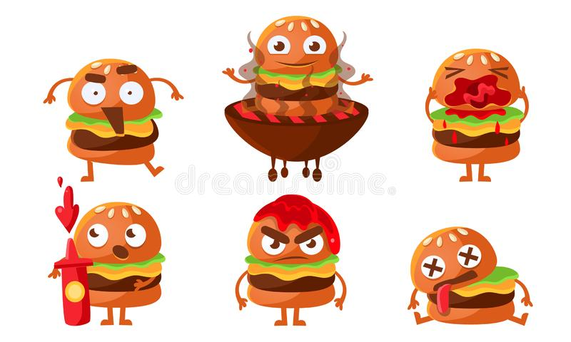 Funny Burgers Set, Fast Food Cartoon Character with Various Emotions Vector Illustration. On White Background vector illustration