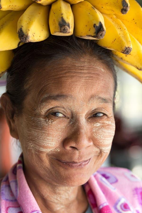 Funny Burmese woman stock photo