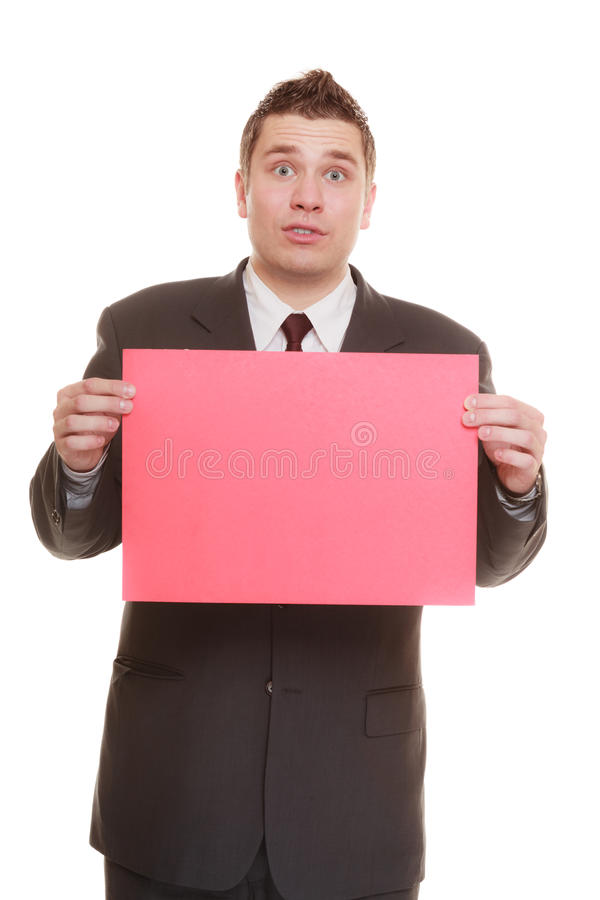 Funny business man holding sign red blank. Nerdy business man or goofy student guy holding sign red blank copy space for text. Funny facial expression. isolated stock photo
