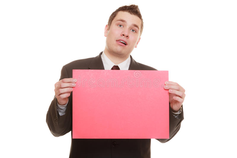 Funny business man holding sign red blank. Nerdy business man or goofy student guy holding sign red blank copy space for text. Funny facial expression. isolated royalty free stock photography