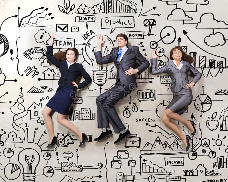 Funny business people. Funny businesspeople lying on floor and acting like running stock image