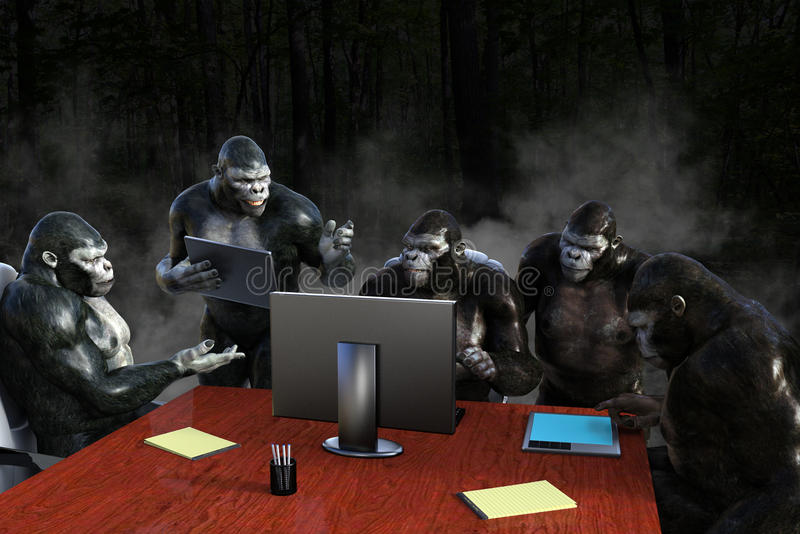 Funny Business Sales Team Meeting. Funny business sales team office meeting. A group of gorillas are in an office meeting room discussing marketing and strategy stock photography