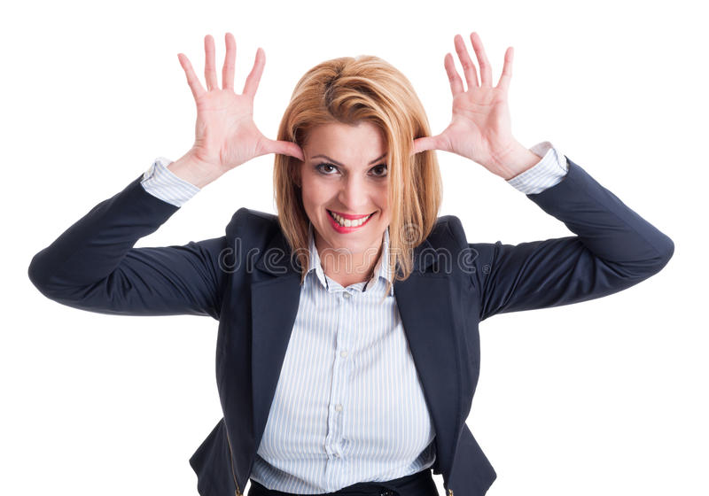 Funny business woman stock photo