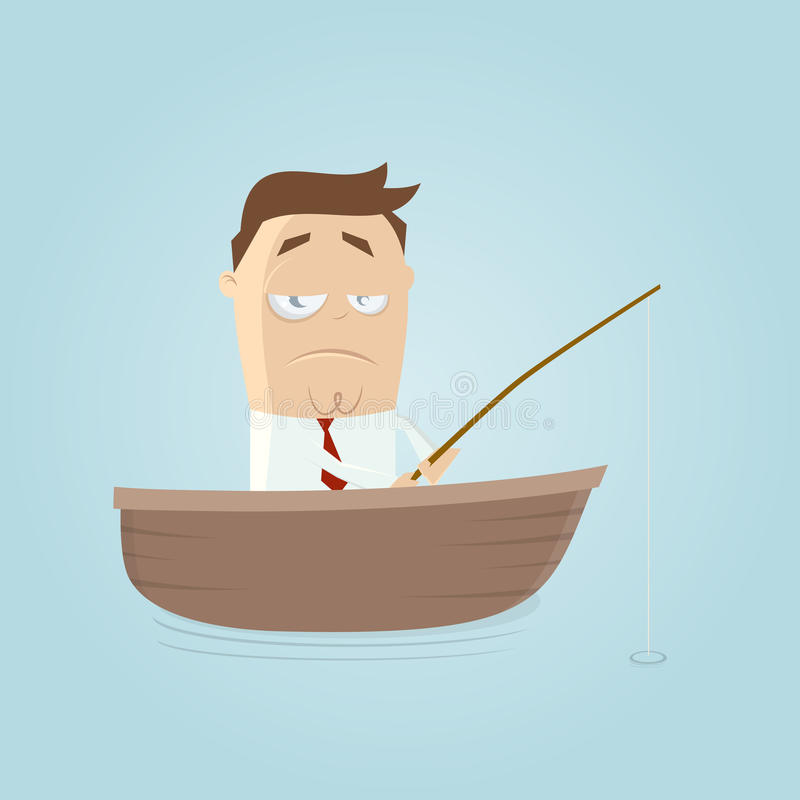 Funny businessman with a bad catch. Illustration of a funny businessman with a bad catch royalty free illustration