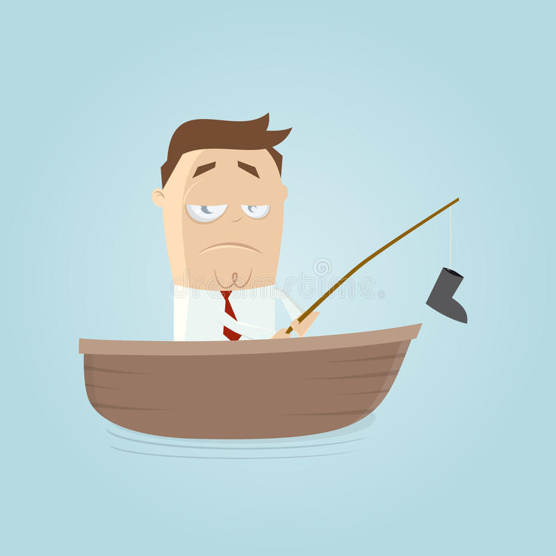 Funny businessman with a bad catch. Illustration of a funny businessman with a bad catch stock illustration