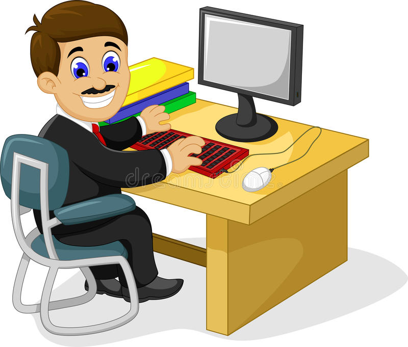 Superb Download Funny Businessman Cartoon Working In His Office Desk Stock  Illustration   Illustration Of Office,