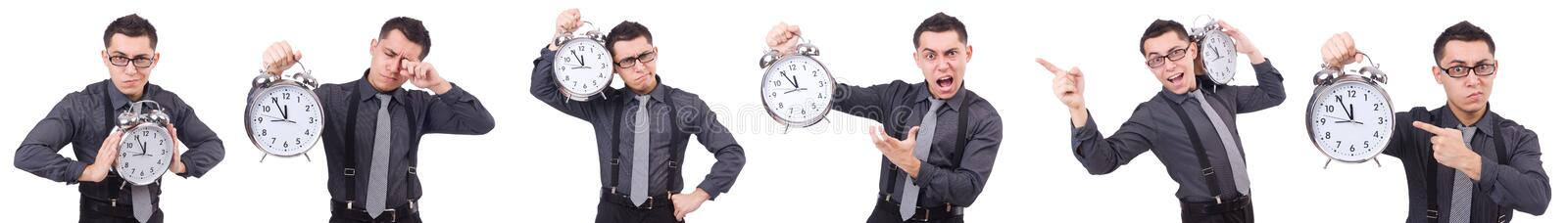 The funny businessman with clock isolated on white. Funny businessman with clock isolated on white stock photos