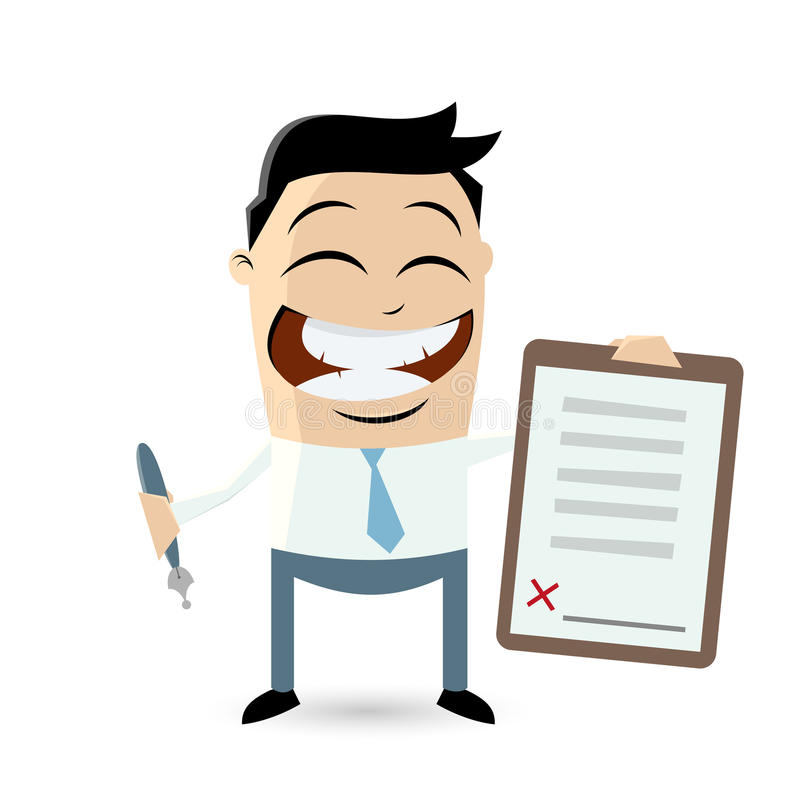 Funny businessman with contract ready for signature vector illustration