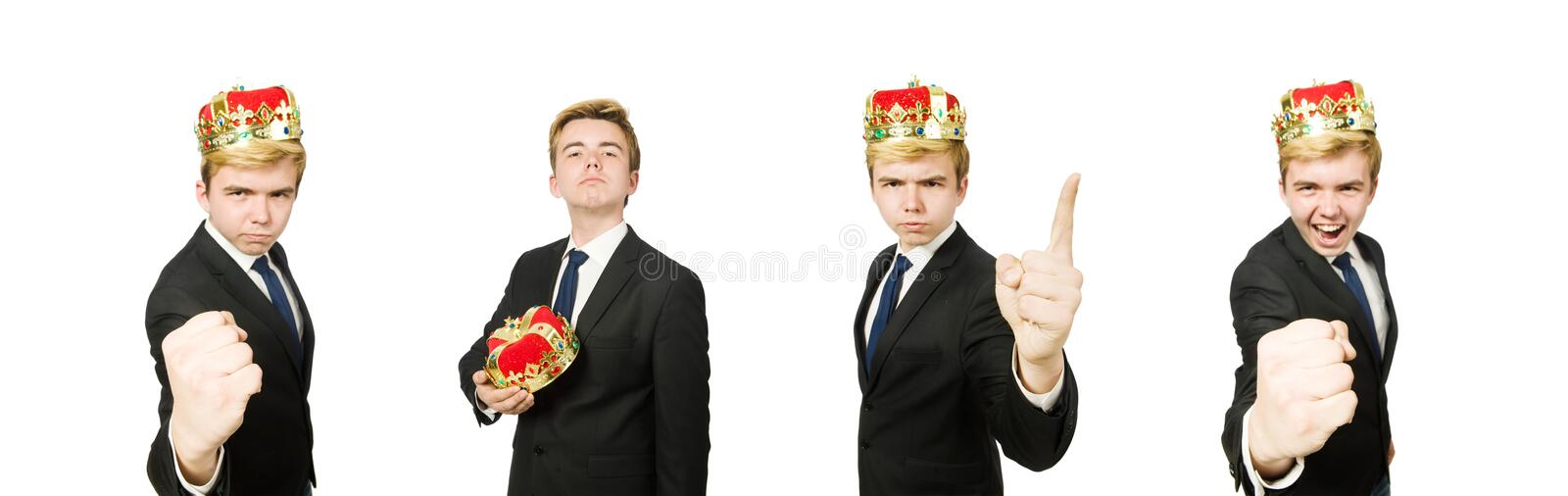 Funny businessman with crown and boxing gloves stock images
