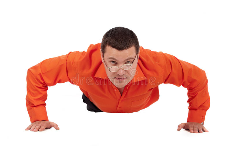 Download Funny Businessman Doing Push-ups Stock Photo - Image: 17099504