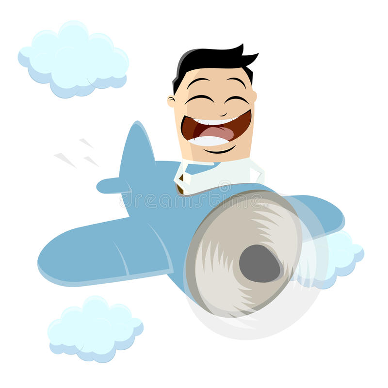 Funny businessman is flying a plane stock illustration