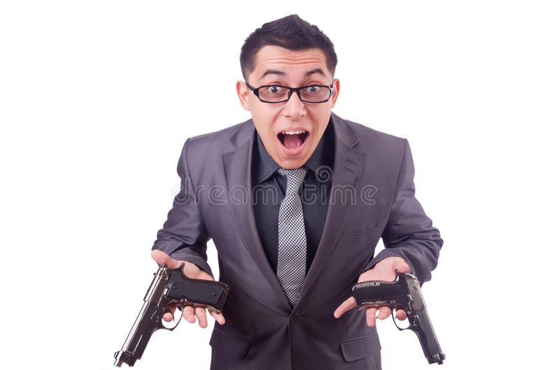Download Funny businessman with gun stock photo. Image of adult - 36986460