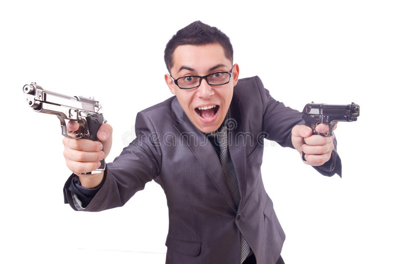 Download Funny businessman with gun stock image. Image of bodyguard - 36986477