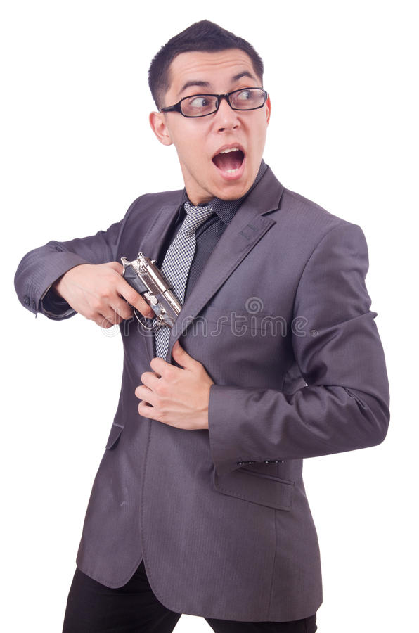 Download Funny businessman with gun stock photo. Image of bodyguard - 36986566