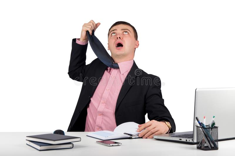 Funny businessman, hung a tie isolated on white background stock photos