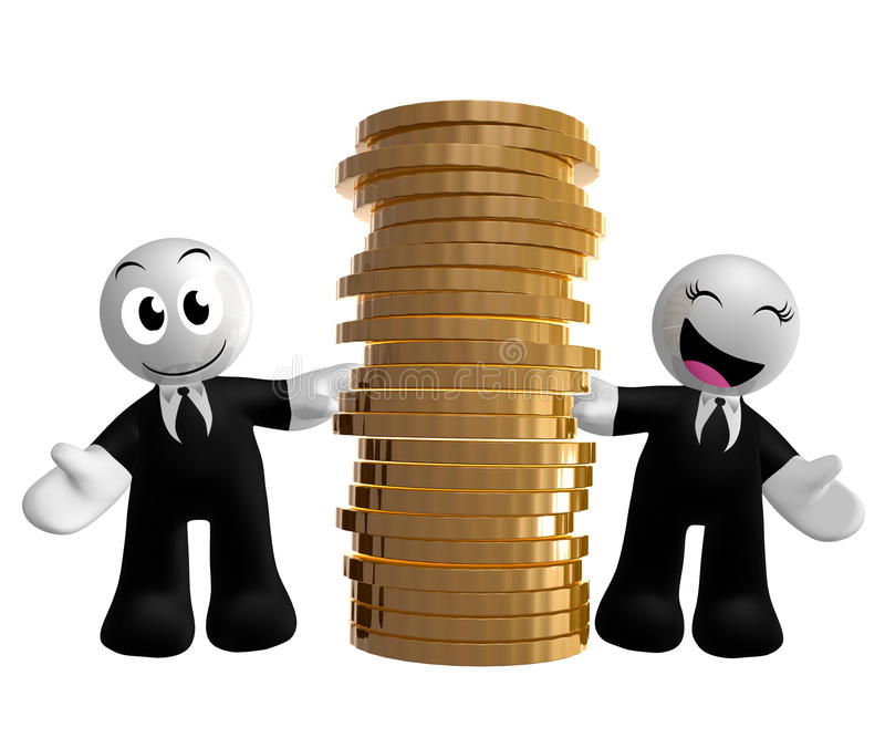 Funny Businessman Icon With Gold Coins Stock Photo