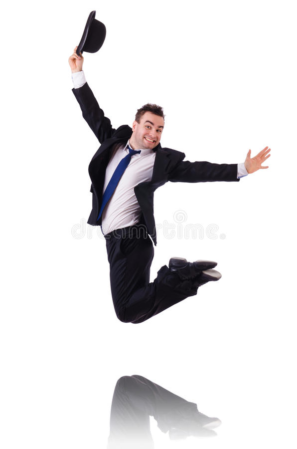 Funny businessman jumping