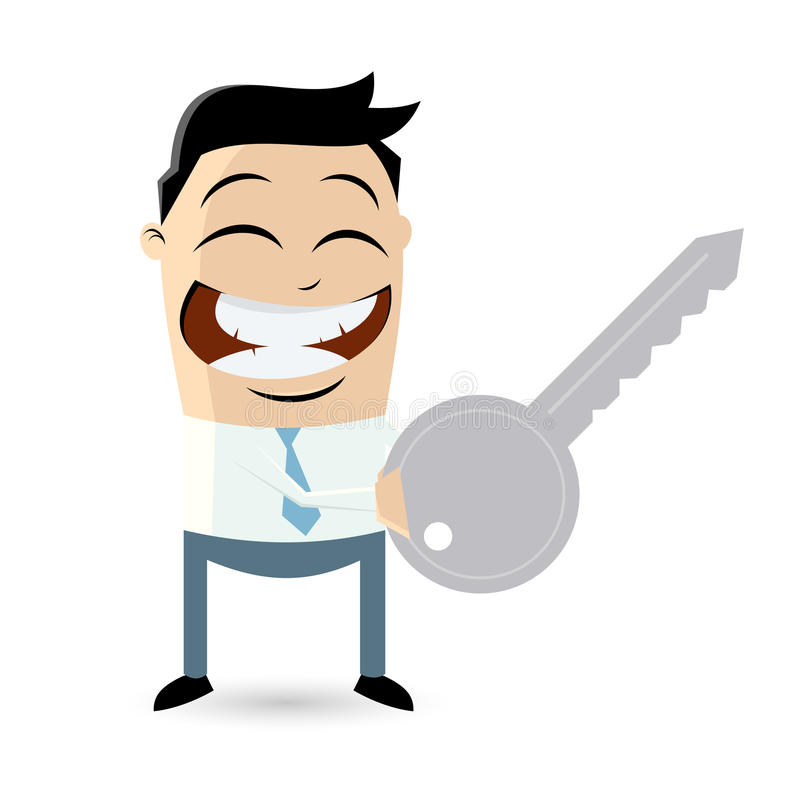 Funny businessman with a key royalty free illustration