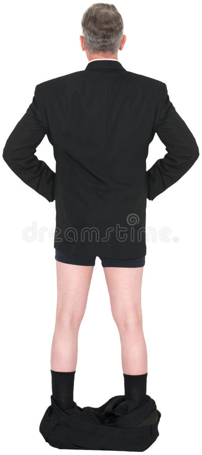Funny Businessman Pants Down Isolated royalty free stock photos