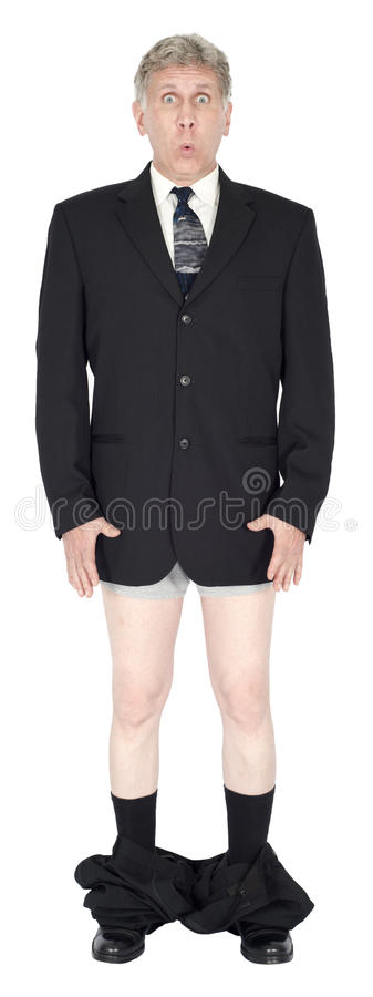 Funny Businessman Pants Fall Down Isolated royalty free stock photography