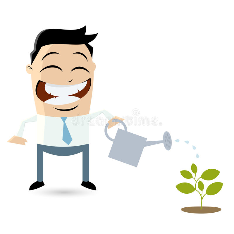 Funny businessman pouring water on a small plant vector illustration