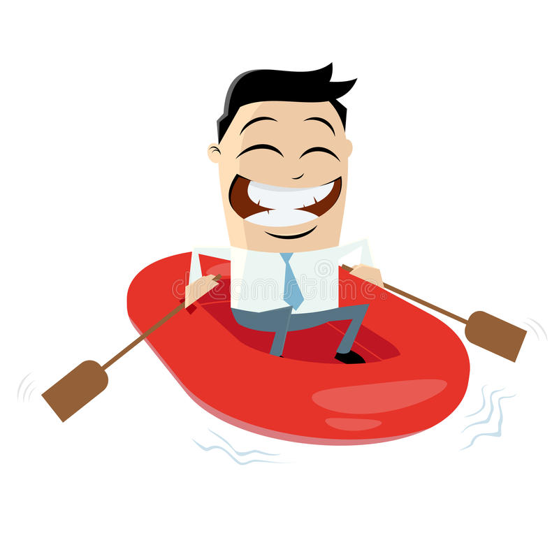 Funny businessman with rubber boat vector illustration