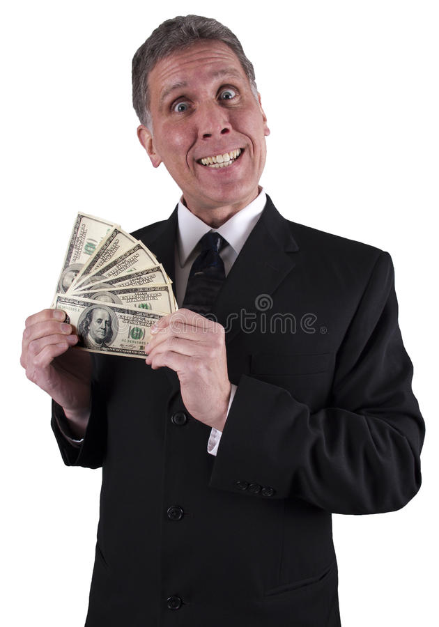 Funny Businessman Smile Cash Bonus Money. Happy businessman with a big smile. The man is smiling because he has his hands full of cash money. Maybe he got a royalty free stock photography