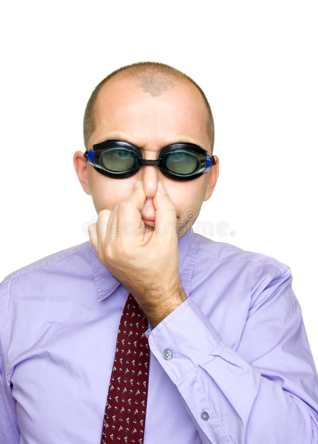 Funny Businessman With Swimming Goggles Royalty Free Stock Image