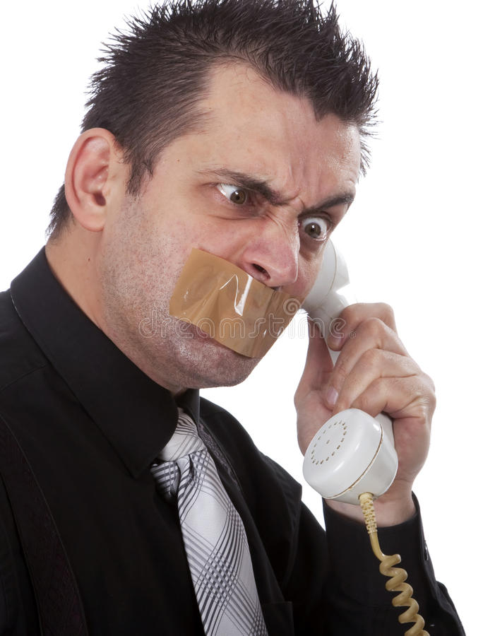 Download Funny Businessman With Tape On His Mouth Stock Image - Image of communication, isolated: 13750631