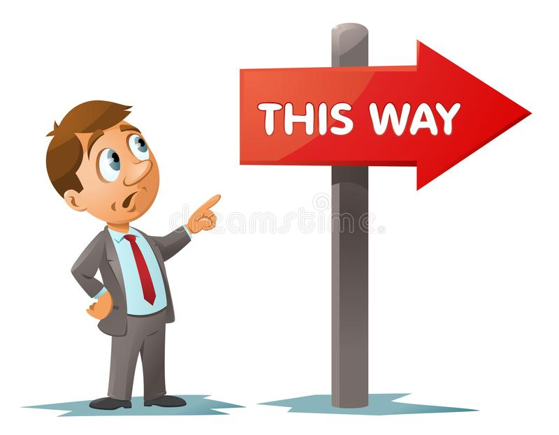 Funny businessman watches at This way signpost royalty free illustration