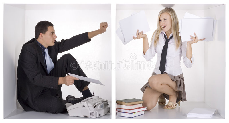 Funny businesspeople in the white cubes stock images