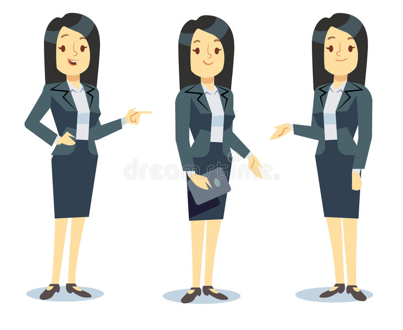 Funny businesswoman cartoon character in different poses for business presentation vector set royalty free illustration