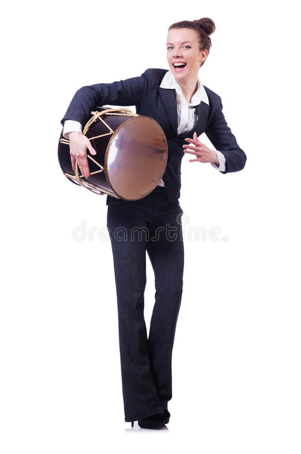 Funny businesswoman with drum royalty free stock image