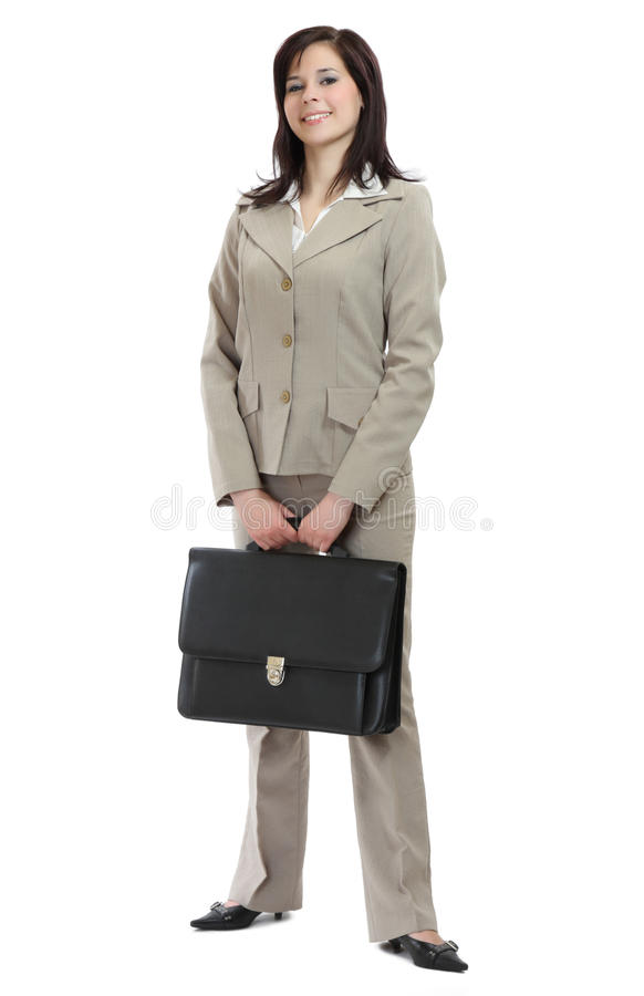 Funny businesswoman with huge briefcase royalty free stock images